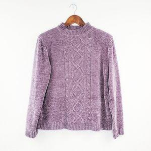 🔴 Alfred Dunner Purple Chenile Knit Mock Sweater